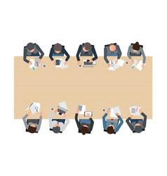 top view of business meeting vector image vector image