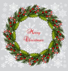 Christmas fir and holly tree wreat vector