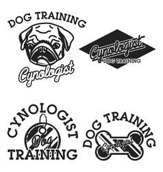 color vintage cynologist emblems vector image vector image