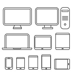 Different media devices collection vector image vector image