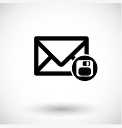 envelope flat icon with save sign vector image vector image