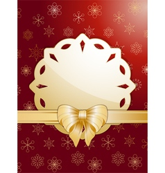 gold christmas bow and label vector image vector image