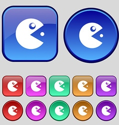 pac man icon sign A set of twelve vintage buttons vector image vector image