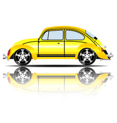 retro car yellow color white background ima vector image