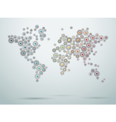 World Map Cogs Connections 1 vector image