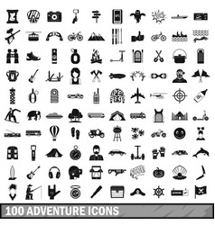 100 adventure icons set simple style vector image