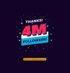 4m followers one million followers social media vector