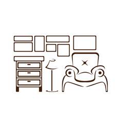 abstract furniture and home interior vector image