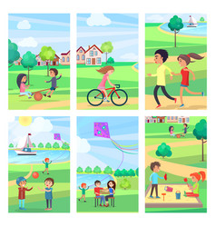 active rest in urban park poster vector image