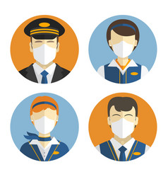 aircraft crew icons set workers in protective vector image