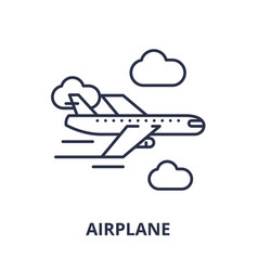 airplane line icon concept airplane linear vector image