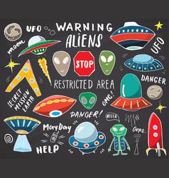 Aliens and ufo hand drawn sketch set cute cartoon vector
