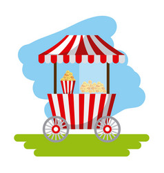 amusement snack cart stand flat icon vector image