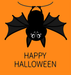 bat hanging on rope happy halloween cute cartoon vector image