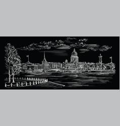 Black hand drawing st petersburg 8 vector