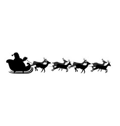 Black silhouette of santas sledge isolated on vector