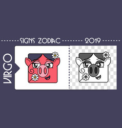 Black zodiac pig virgo vector