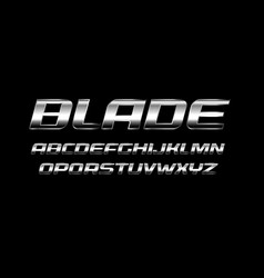 blade letters set polished metal texture chrome vector image