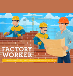 Bricklayer and architect at construction site vector
