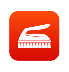 Brush for cleaning icon digital red vector