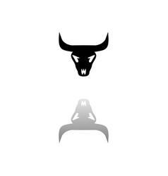 Bull skull icon flat vector