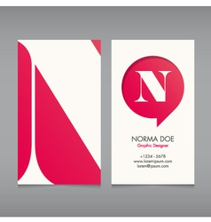 Business card template letter n vector
