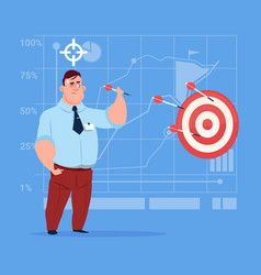 Business man hold arrow hit target successful goal vector