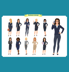 Business people set of womensteamwork vector