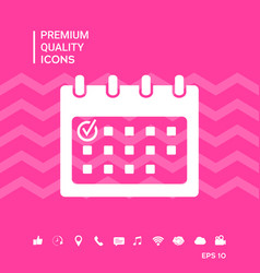 Calendar icon with check mark vector