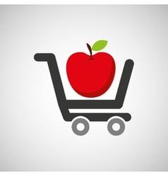 Cart buy delicious food apple vector