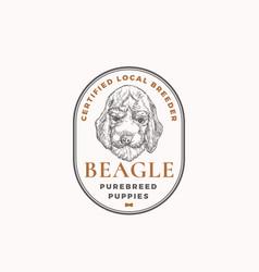 Certified dog breeder frame badge or logo template vector