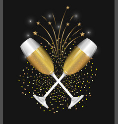 Champagne glass to celebrate new year holiday vector