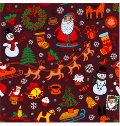 Christmas seamless background with doodle symbols vector