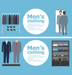 Clothing shop banners with shopping people vector