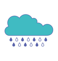 cloud with rain in blue and purple color sections vector image