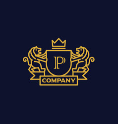 Coat of arms letter p company vector
