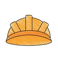 Color crayon stripe cartoon helmet for protection vector