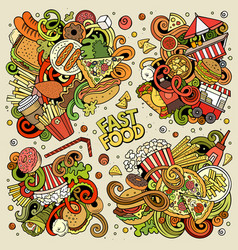 colorful doodles cartoon set fastfood vector image