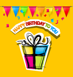 Colorful happy birthday card on yellow bckground vector