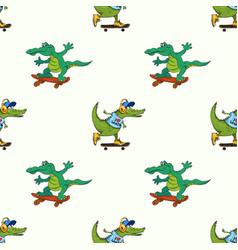 Crocodiles on skateboards seamless pattern vector