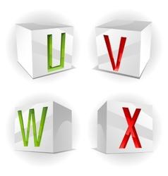 cube alphabet letters UVWX vector image