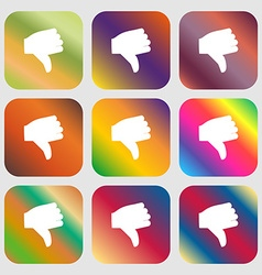 Dislike Thumb down icon Nine buttons with bright vector image