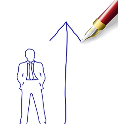 Drawing future success plan for man vector image vector image