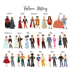 Fashion history clothes design and dressing vector