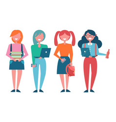 Female students with books and modern laptops vector