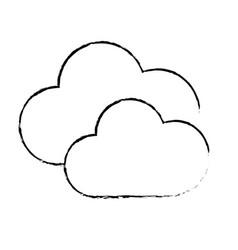 Figure nice clouds weather of sky vector