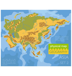 Flat asia physical map constructor elements on vector