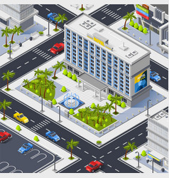 Fragment of city with luxury hotel building vector