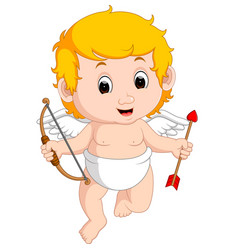 funny little cupid boy vector image