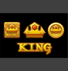 Golden logos king crown icons on golden square vector